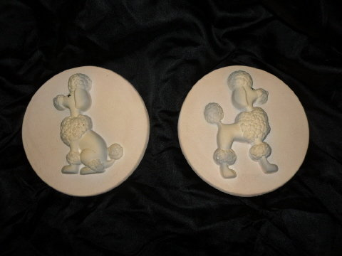 Vintage Poodle Wall Plague Pair