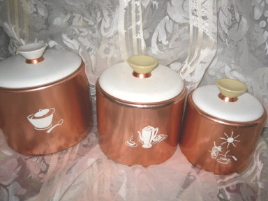Vintage Mirro Copper Canister Set