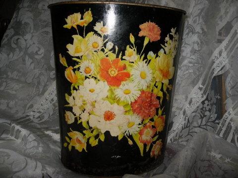 Vintage Metal Floral Waste Basket