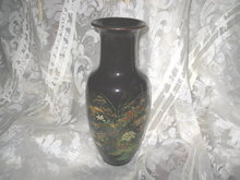 Vintage Brown Oriental Floral Porcelain Vase