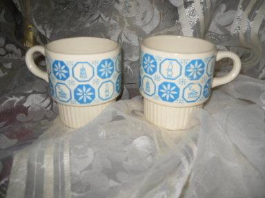 Vintage Stackable Mug Pair