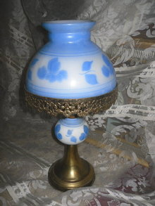 Vintage Blue & White Glass Table Lamp w/Matching Glass Shade