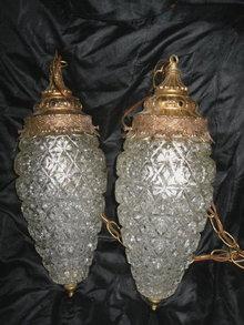 Vintage Glass Pendant Light Fixtures Pair  **Large**