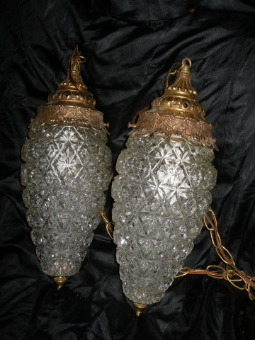 Vintage Glass Pendant Light Fixtures Pair  **Large**