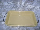 Vintage Pale Yellow Enamelware Baking Dish