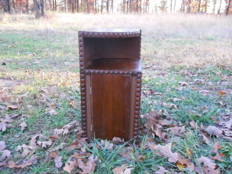 Vintage Arts & Crafts Era Wooden Corner Cabinet