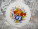 Vintage Hand Painted Porcelain Fruit Plate Wall Plague