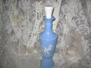 Vintage Blue & Milk Glass Decanter w/Greek Decoration