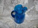 Vintage Large Blue Glass Pitcher