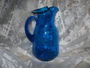 Vintage Large Blue Glass Pitcher