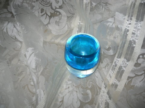 Vintage Blue Art Glass Vase Orrefors ? Whitefriars?