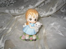 Vintage Porcelain Big Eyed Girl w/Cat Figurine