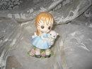 Vintage Porcelain Big Eyed Girl w/Cat Figurine