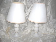 Vintage White Table Lamp Pair