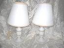 Vintage White Table Lamp Pair