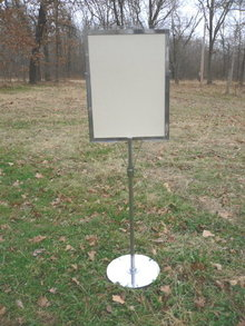 Chrome Pedestal Dry Erase Sign