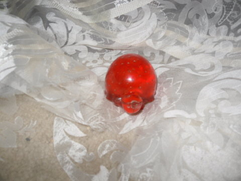 Vintage Red Art Glass Turtle Paperweight