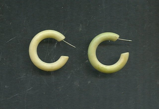 Vintage Genuine Jade Hoop Earrings