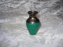 Vintage Green & Bronze Glaze Pottery Vase