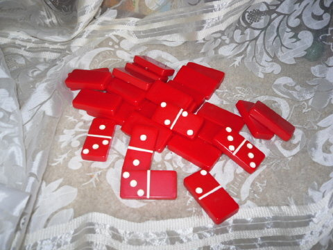 Vintage Red Bakelite Dominoes Set