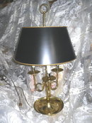 Vintage Brass Table Lamp w/Black Lamp Shade