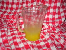 Vintage Glass Pitcher w/Yellow Frosted Base