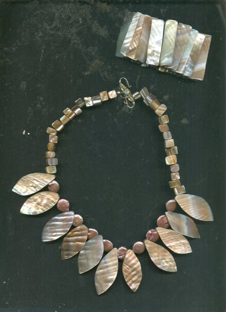 Hand Made Pink Mother of Pearl Leaf Necklace