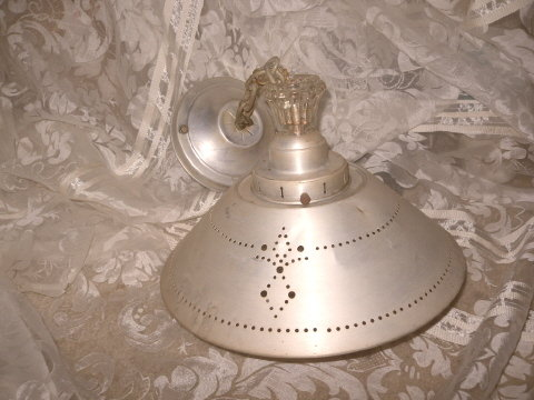 Vintage Aluminum & Glass Ceiling Light Fixture