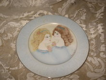 Vintage Hand Painted Ladies Porcelain Plate