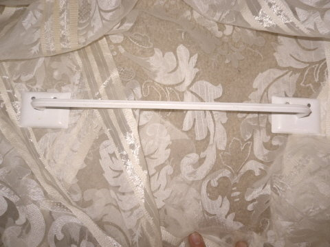 Vintage  White Metal Towel Rod  **Wall Mount**