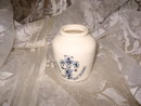 Vintage Blue & White Glass Grey Poupon Mustard Jar  **French**
