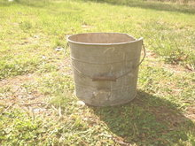 Vintage Large Metal Bucket w/wooden handle