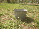 Vintage Large Galvanized Metal Bucket w/wire handle