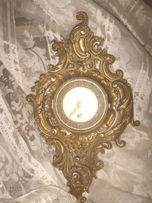 Antique Ornate Bronze Wall Clock