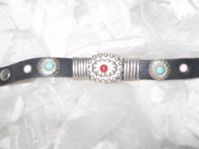 Vintage Black Leather & Turquoise Bracelet