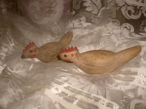 Vintage Pair Hand Carved Wood Birds