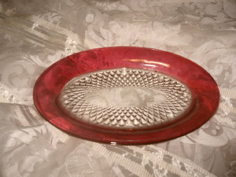 Vintage Cranberry & Clear Glass Platter