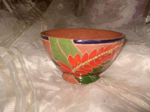 Vintage High Glaze Redware Terra Cotta  Pottery Bowl