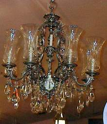 Chandelier Silverplate and Crystal
