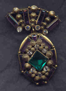 Locket Gilt Metal and Glass stones possibly Hobe