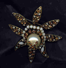 Brooch Schreiner of NY Star Shape with Faux Pearl Center