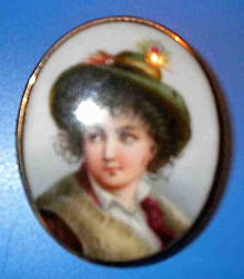 Brooch Painting on Porcelain Young Boy