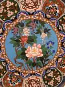 Cloisonne Charger Antique Chinese Pink Peony & Floral