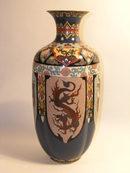 Cloisonne Vase Antique Chinese Dragon Motif