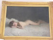 Joseph Milner Kite (British 1862-1945) Oil on Canvas Reclining Female Nude