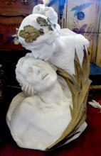 Symbolist Marble of Dying Warrior and Lady wearing an acorn crown Sculpture