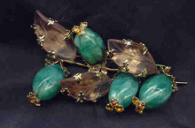 Brooch Schreiner of NY Frosted Glass Leafs and Green Beads