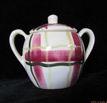 Purinton Normandy Plaid Sugar Bowl With Lid