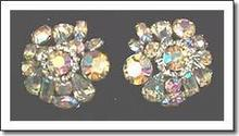 Weiss Aurora Borealis Clip Earrings Signed 1950's