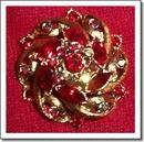 Weiss Red and AB Rhinestone Brooch Signed